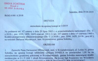 Zezwolenie na uprawę konopi 2019 dla Plantacji Konopi w Kryształowicach