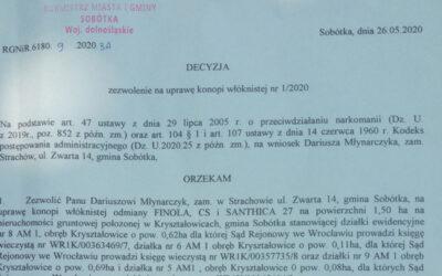 Zezwolenia na uprawę konopi 2020 dla Plantacji Konopi w Kryształowicach